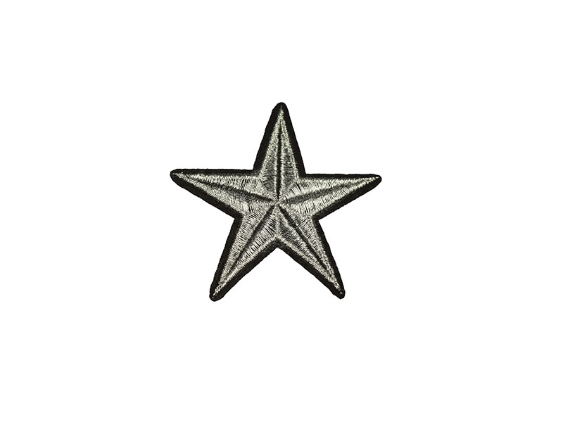 applicatie ster zilver zwart 7 cm