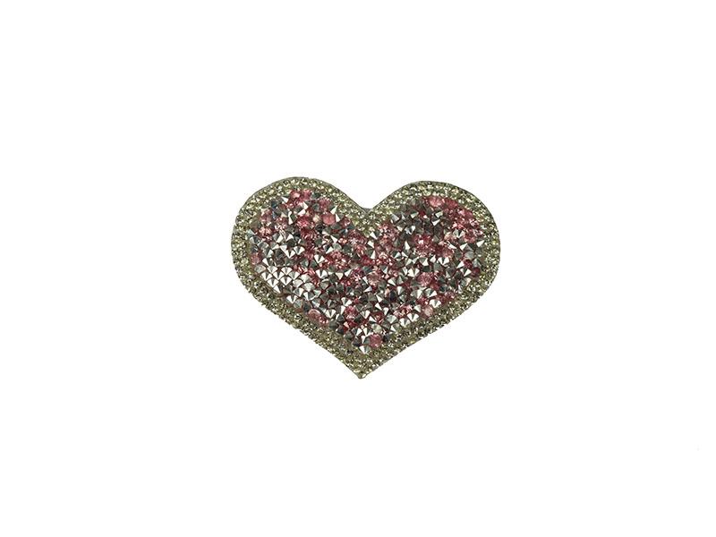 applicatie strass hart roze zilver
