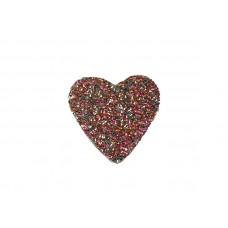 applicatie strass hart roze zilver 7cm