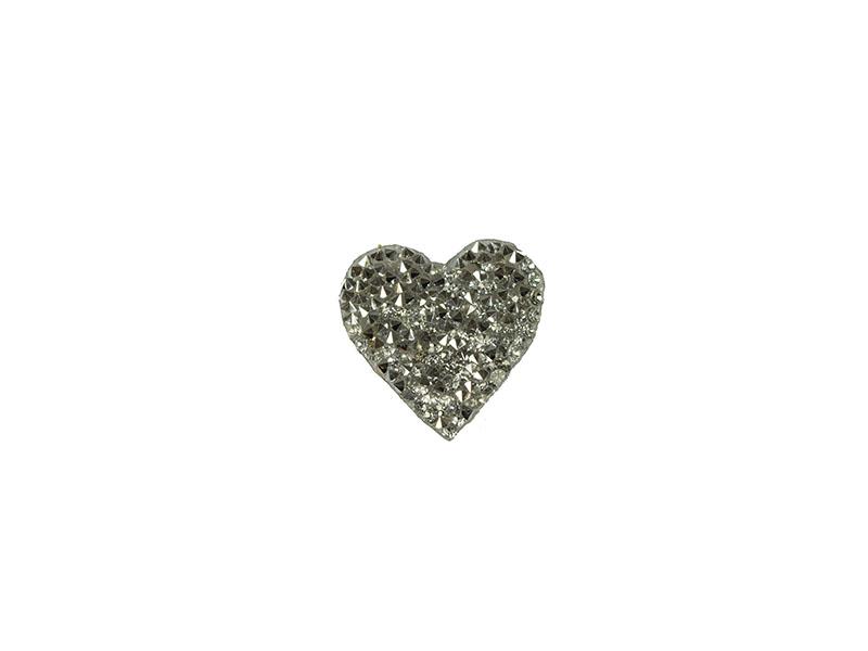 applicatie strass hart  zilver 3,5cm