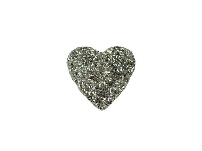 applicatie strass hart  zilver 5cm