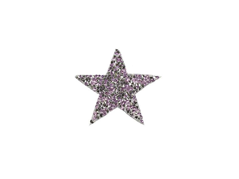 applicatie strass ster zilver lila 6 cm