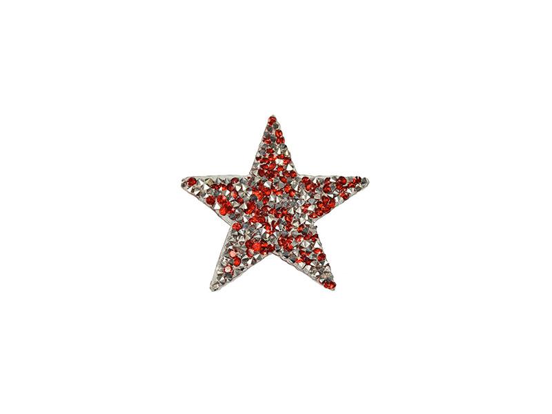 applicatie strass ster zilver rood 6 cm