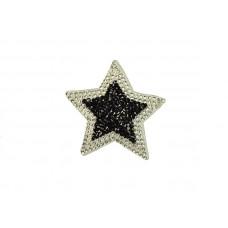 applicatie strass ster zilver zwart 6 cm