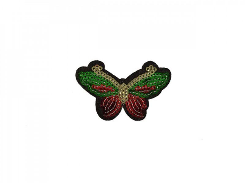 applicatie vlinder met pailletten rood groen