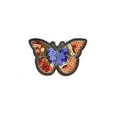 applicatie vlinder pailletten rood blauw