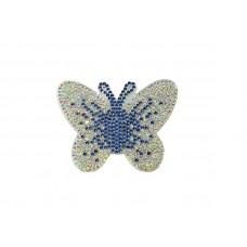 applicatie vlinder strass  lichtblauw zilver