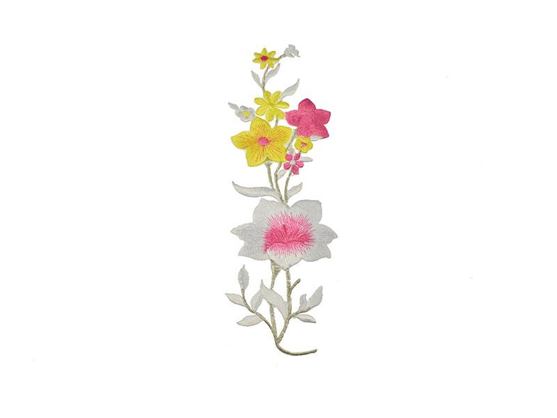 applicatie witte en gele bloemen op tak