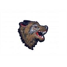 applicatie wolf fluweel bruin rechts