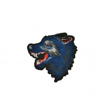 applicatie wolf fluweel kobalt blauw links