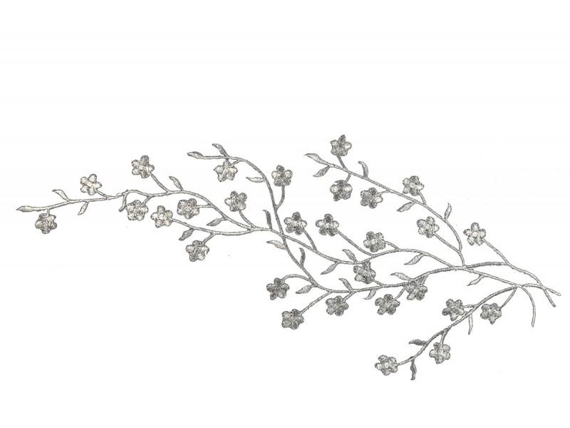 Applicatie zilver bloesem op tak extra large (42 x 16 cm)