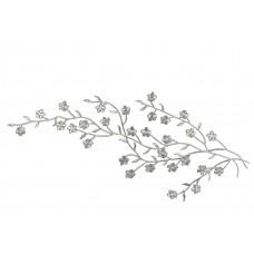 Applicatie zilver bloesem op tak extra large (33 x 12 cm)