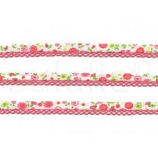 biaisband met kant & print hard roze