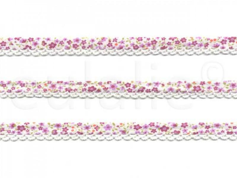 biaisband met kant & print wit paars