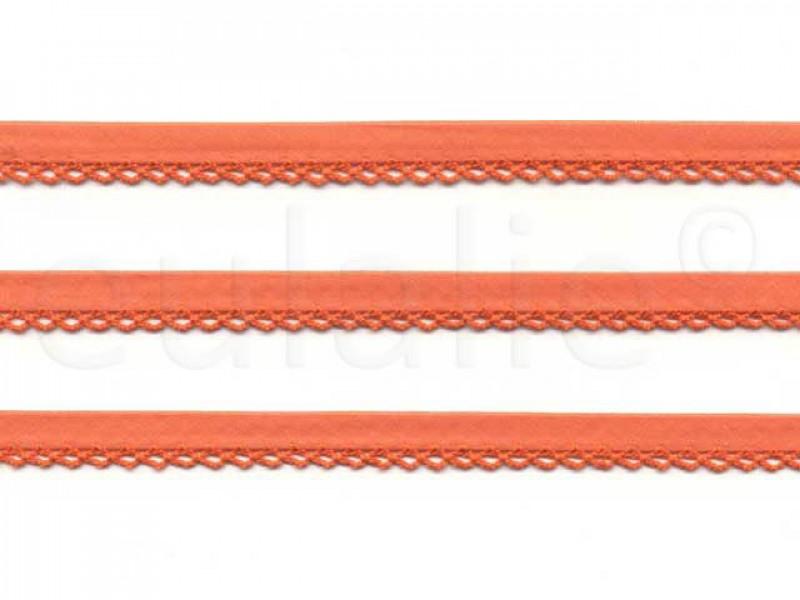biaisband met kantje oranje