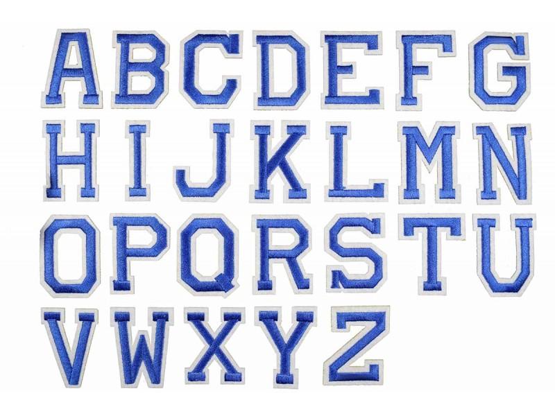 blauwe alfabet letter patch A t/m Z (5x4cm)