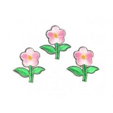bloem applicatie geborduurd fel groen roze klein (3 stuks)