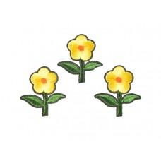 bloem applicatie geborduurd groen geel klein (3 stuks)