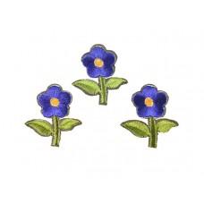 bloem applicatie geborduurd groen kobalt klein (3 stuks)