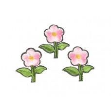 bloem applicatie geborduurd groen roze klein (3 stuks)