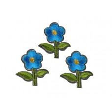 bloem applicatie geborduurde blauwe bloem klein (3 stuks)