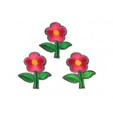 bloem applicatie geborduurde fuchsia bloem klein (3 stuks)