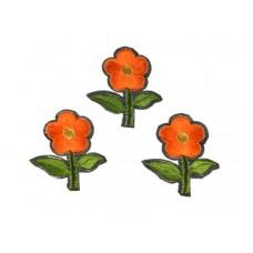 bloem applicatie geborduurde oranje bloem klein (3 stuks)