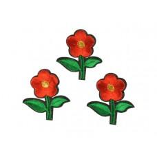 bloem applicatie geborduurde rode bloem klein (3 stuks)