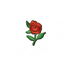 bloem applicatie geborduurde rode bloemen met groen klein