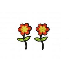 bloem applicatie geel rood 2 stuks