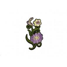 bloem applicatie paars wit met kleine vogel