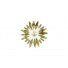 bloem broche bewerkt met strass steentjes licht goud