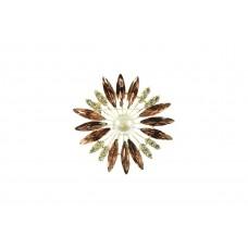 bloem broche bewerkt met strass steentjes lila