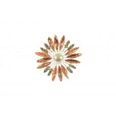 bloem broche bewerkt met strass steentjes zalm roze