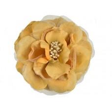 bloem corsage met kralen stamper goud geel