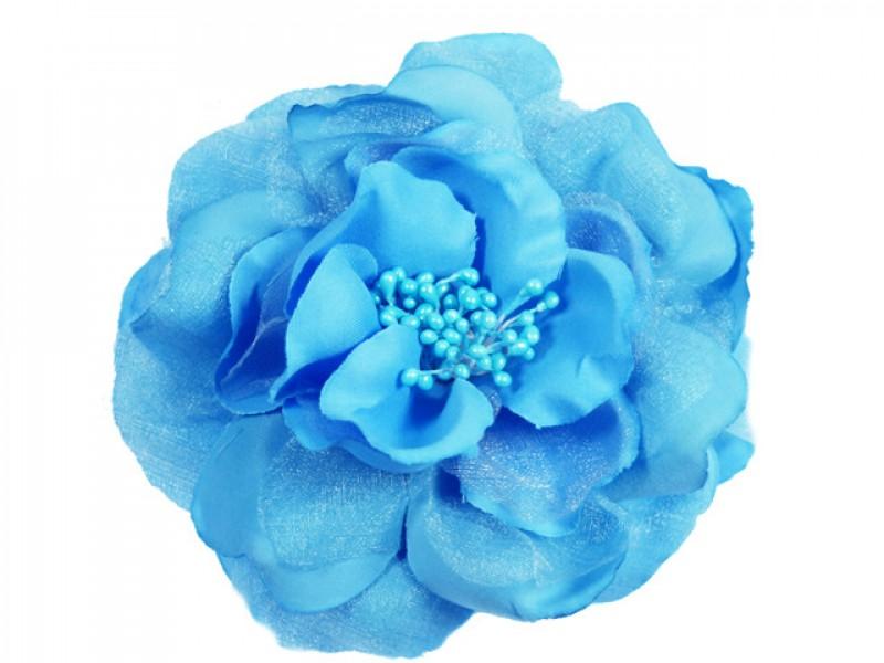 bloem corsage met kralen stamper lichtblauw