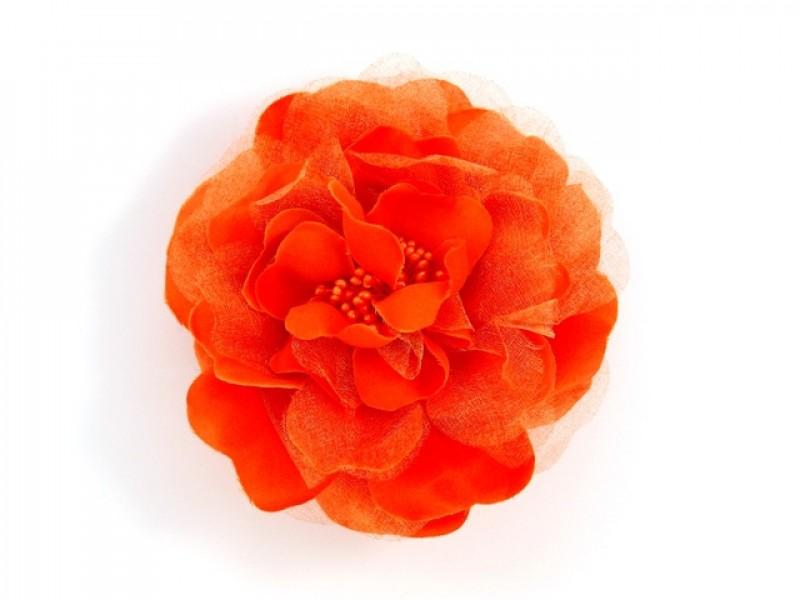 bloem corsage met kralen stamper oranje