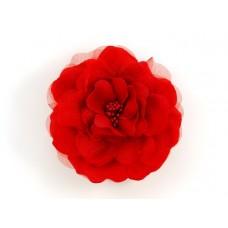 bloem corsage met kralen stamper rood