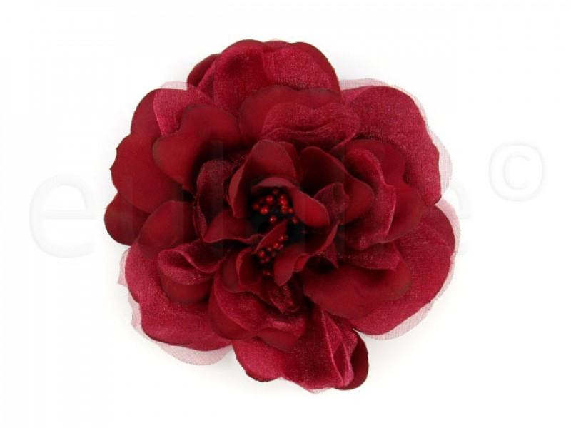 bloem corsage met kralen stamper scharlakenrood