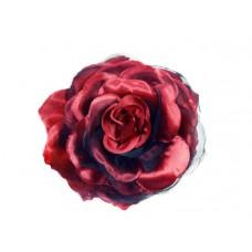 bloem corsage met organza bladeren donker rood zwart