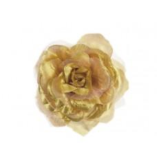 bloem corsage met organza bladeren goud