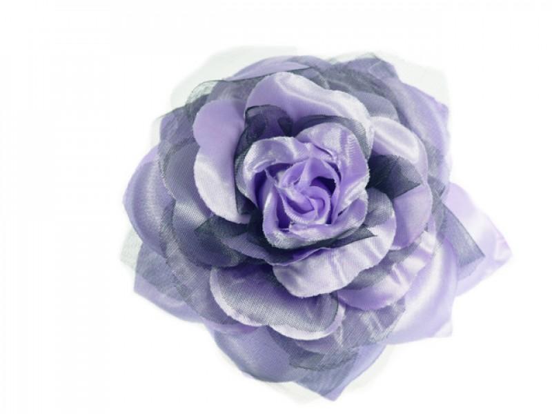 bloem corsage met organza bladeren lila zwart