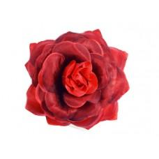bloem corsage met organza bladeren rood zwart