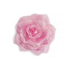 bloem corsage met organza bladeren roze