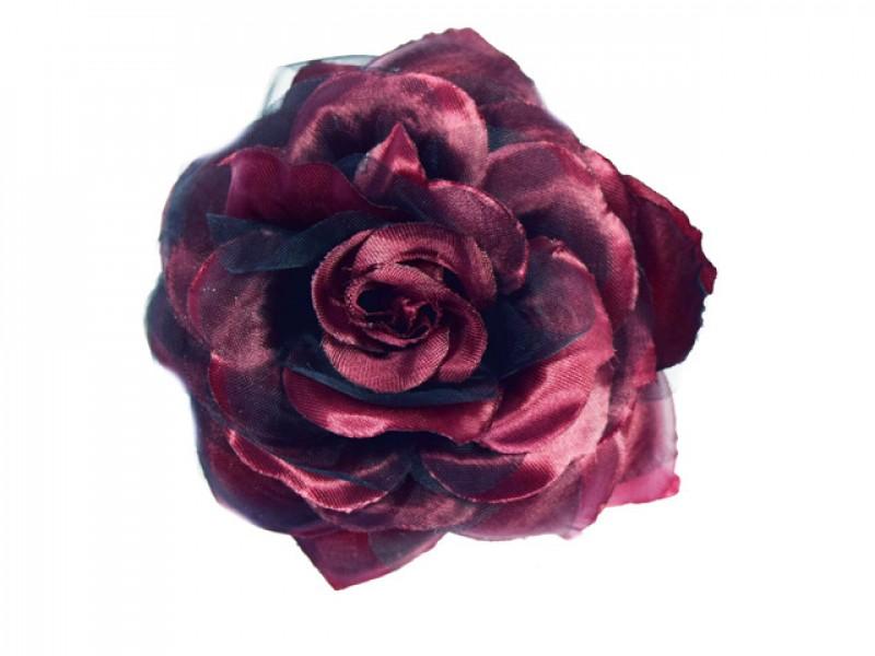 bloem corsage met organza bladeren wijn rood zwart