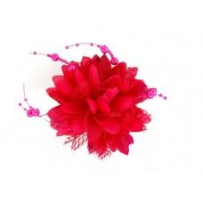 bloem corsage met parels fuchsia