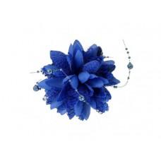 bloem corsage met parels kobalt blauw