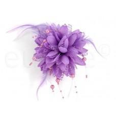 bloem corsage met parels lila