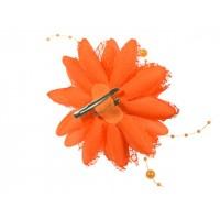 bloem corsage met parels oranje