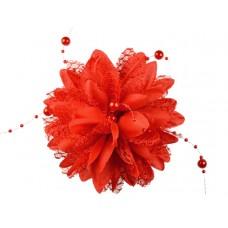 bloem corsage met parels rood